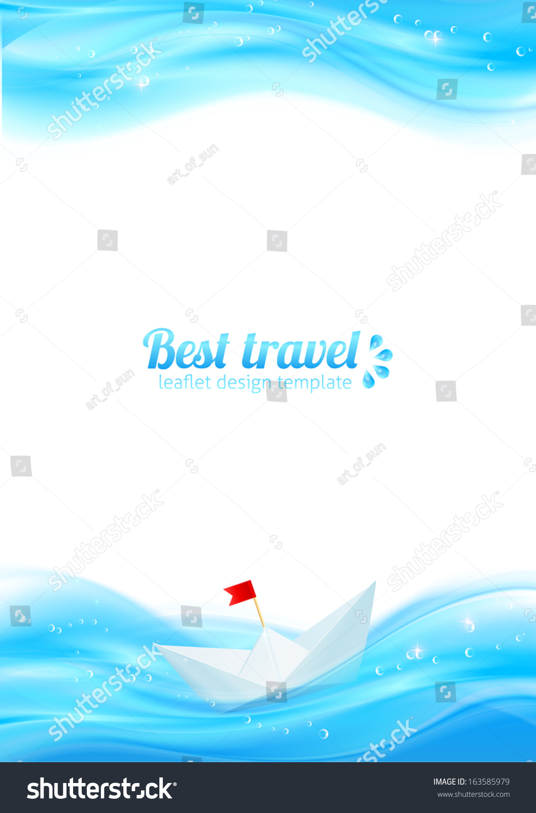 Abstract Realistic Water With Paper Boat Design Template For Your Leaflet