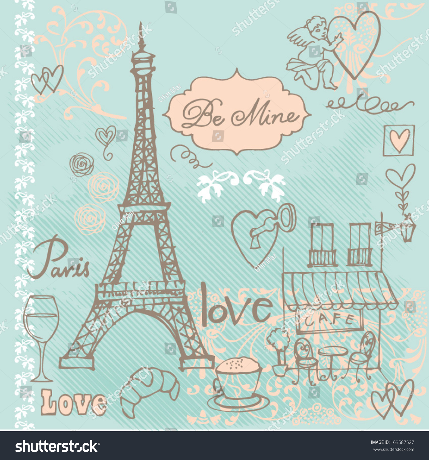 Love Paris Background Stock Vector Royalty Free