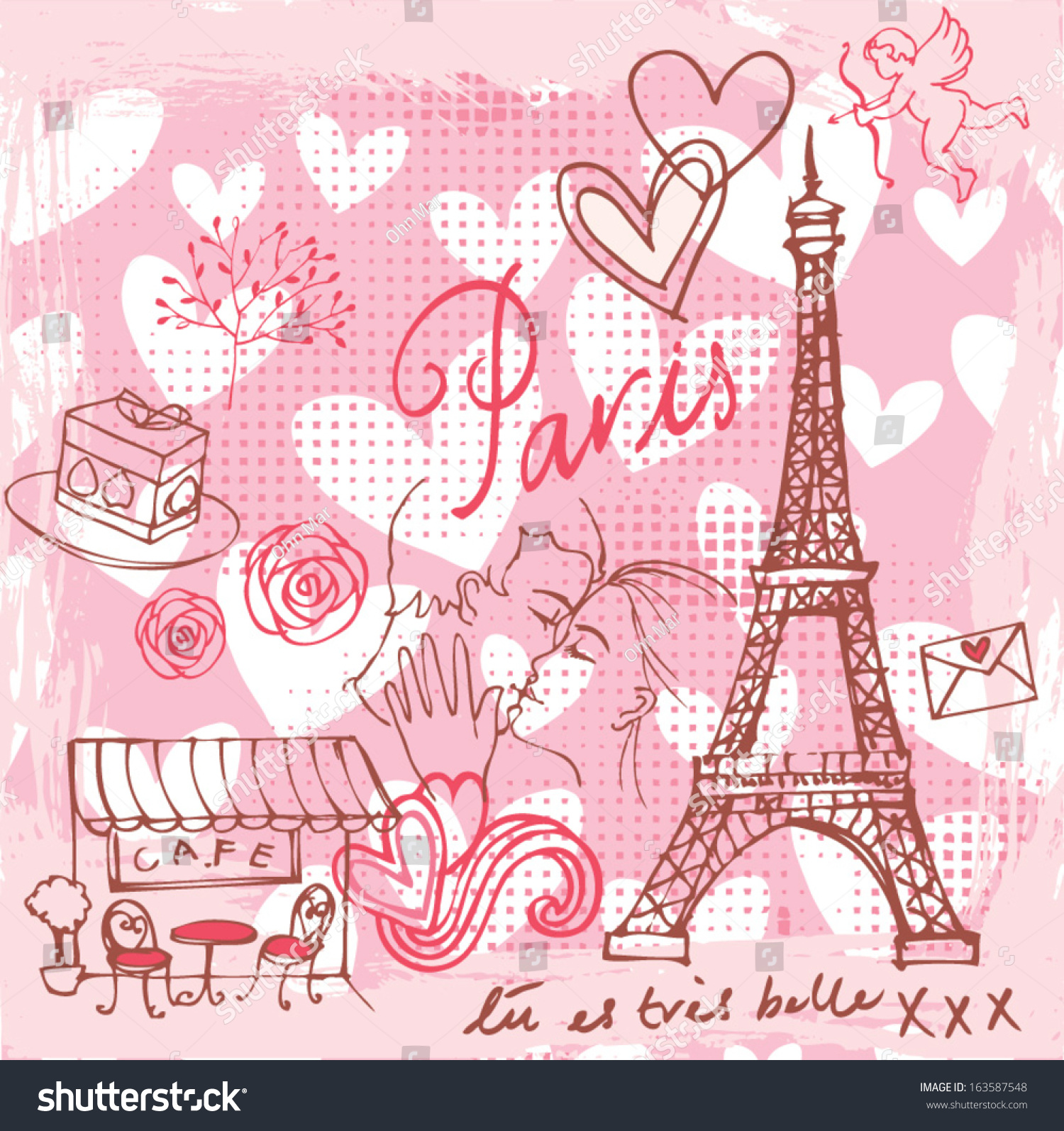 Love Romance Paris Background Stock Vector Royalty Free