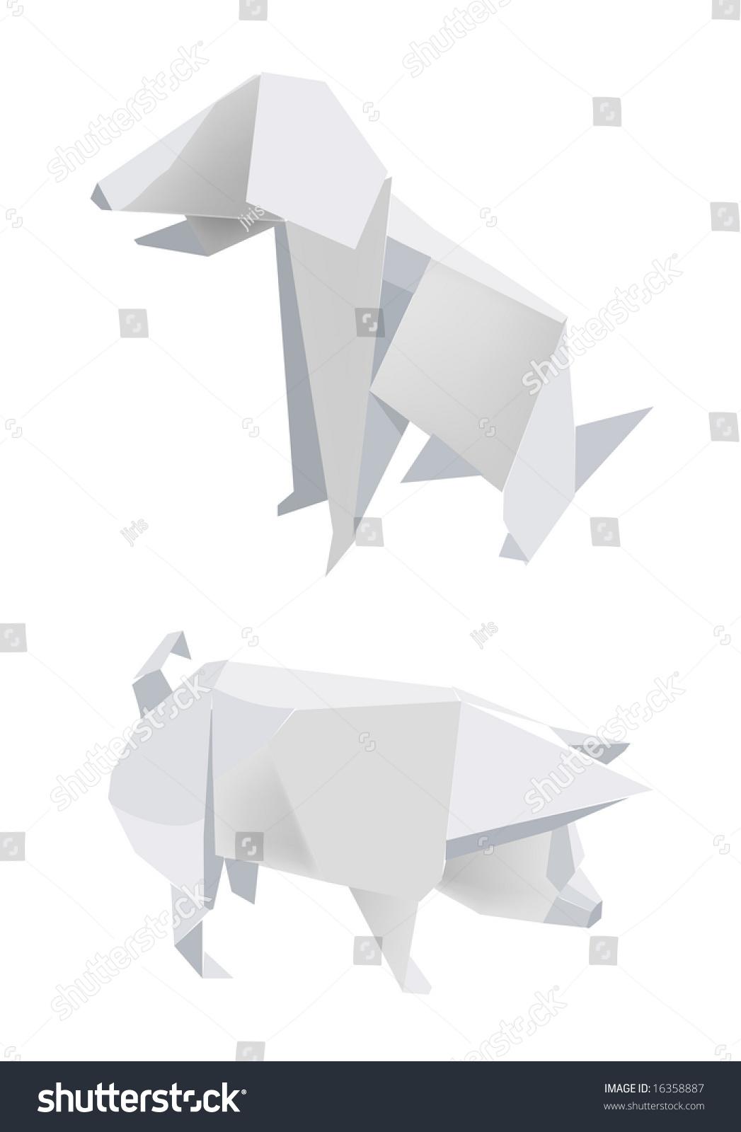 Illustration folded paper models pig dog stock vector 16358887 illustration of folded paper models pig and dog on white background vector illustration pooptronica