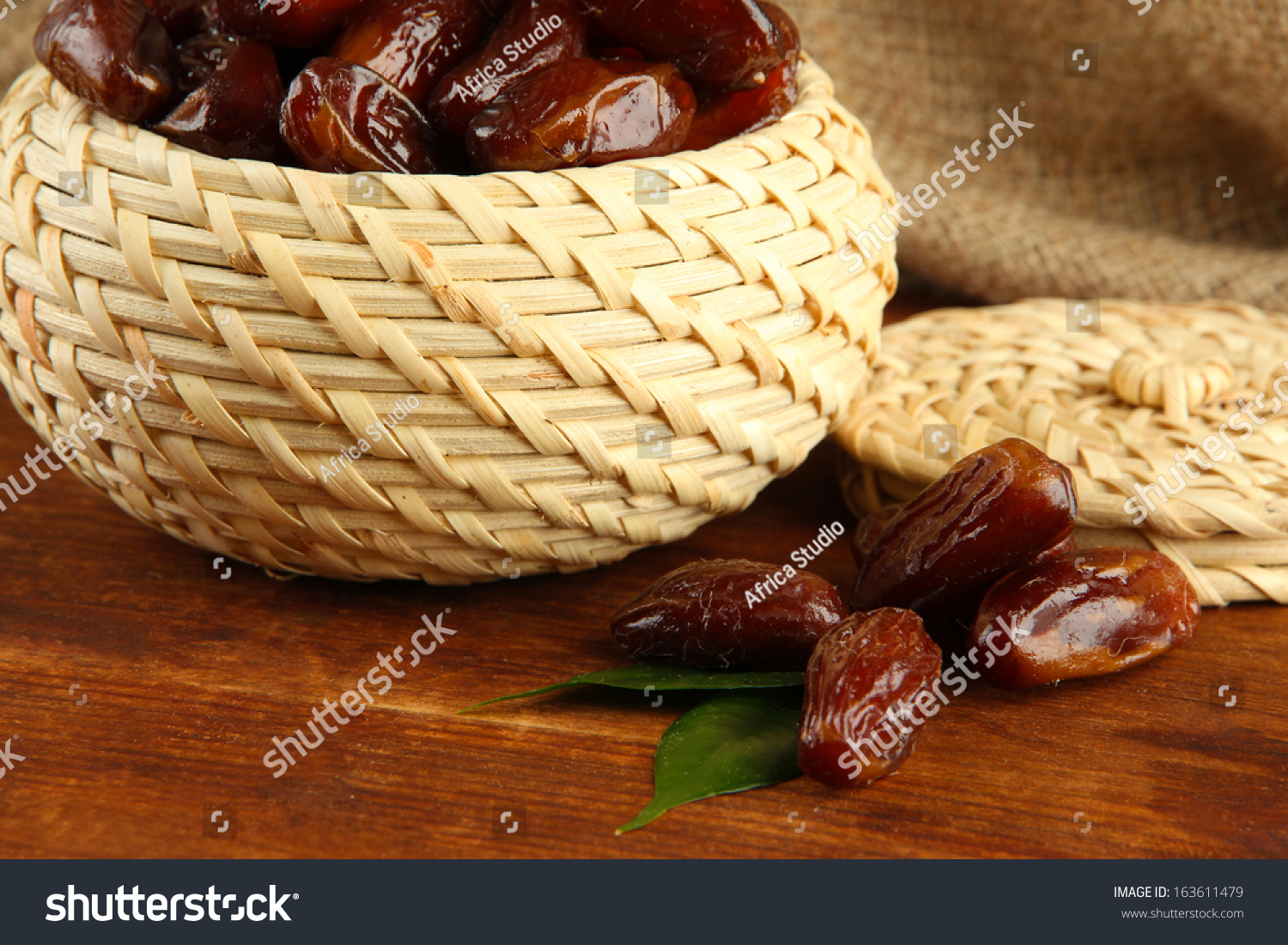 Dried Dates Basket On Table On Stock Photo 163611479 ...