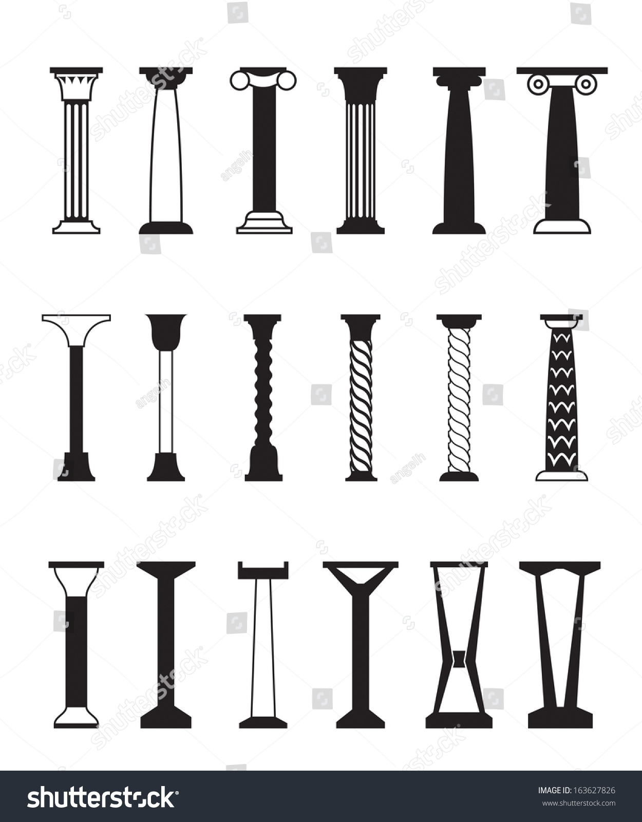 Different Types Columns Vector Illustration Stock Vector 163627826 ...