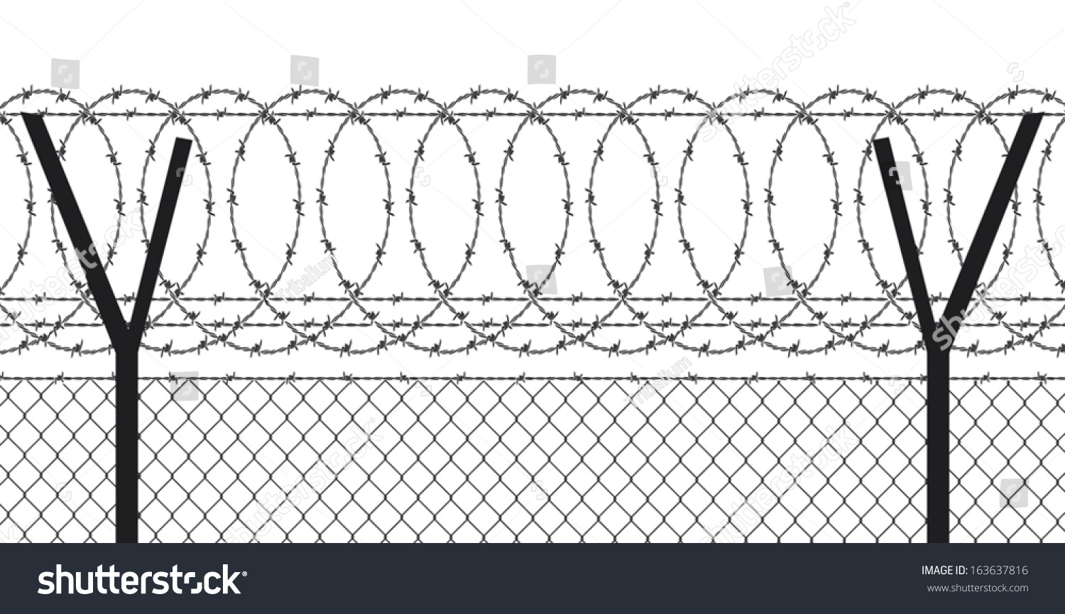 Barbed Wire Fence Stock Vector 163637816 - Shutterstock