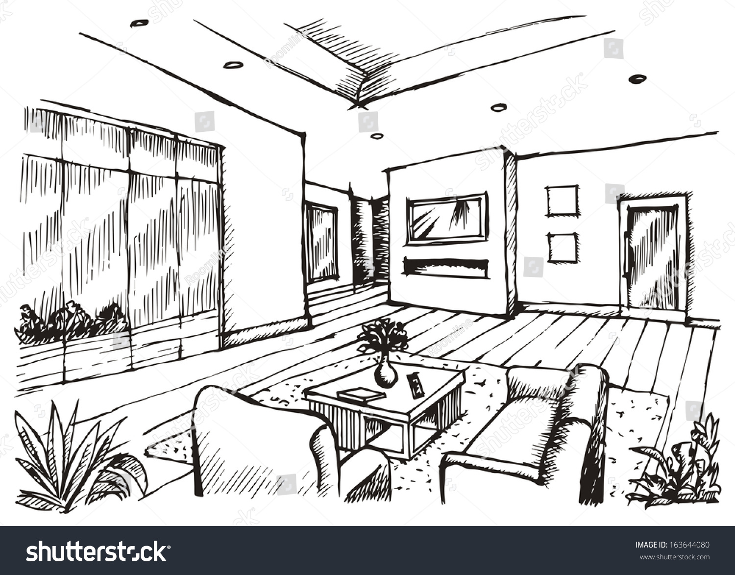 Living room drawing design - Hand Drawing Interior Design For Living Room Raster Image