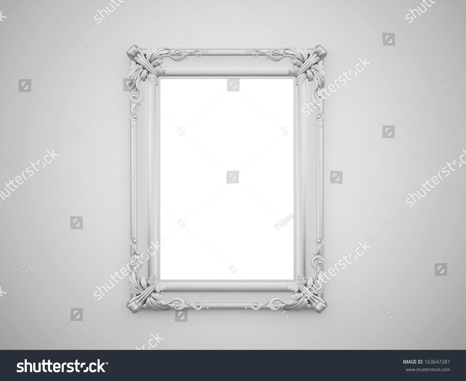 Silver Mirror Wall Photo Frame: Vintage Mirror With Silver Frame On The Wall Rendered