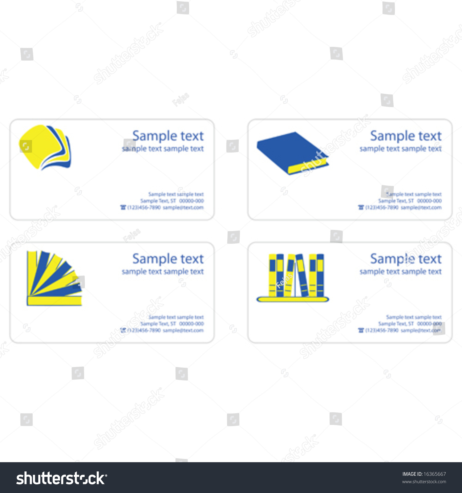 Template Business Cards Reading Theme Stock Vector 16365667 ...