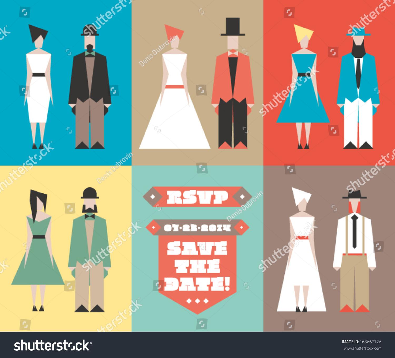 Wedding Invitation Template Flat Figures Bride Stock Vector ...
