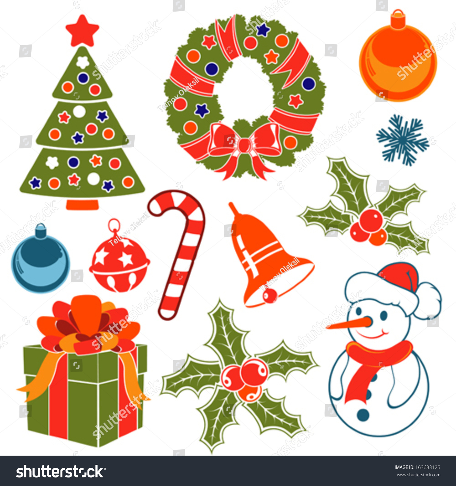 set christmas icons flat style vintage stock vector 163683125