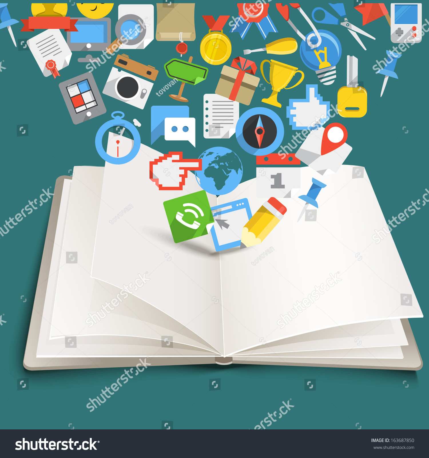Open Book Different Color Flat Icons Stock Vector 163687850