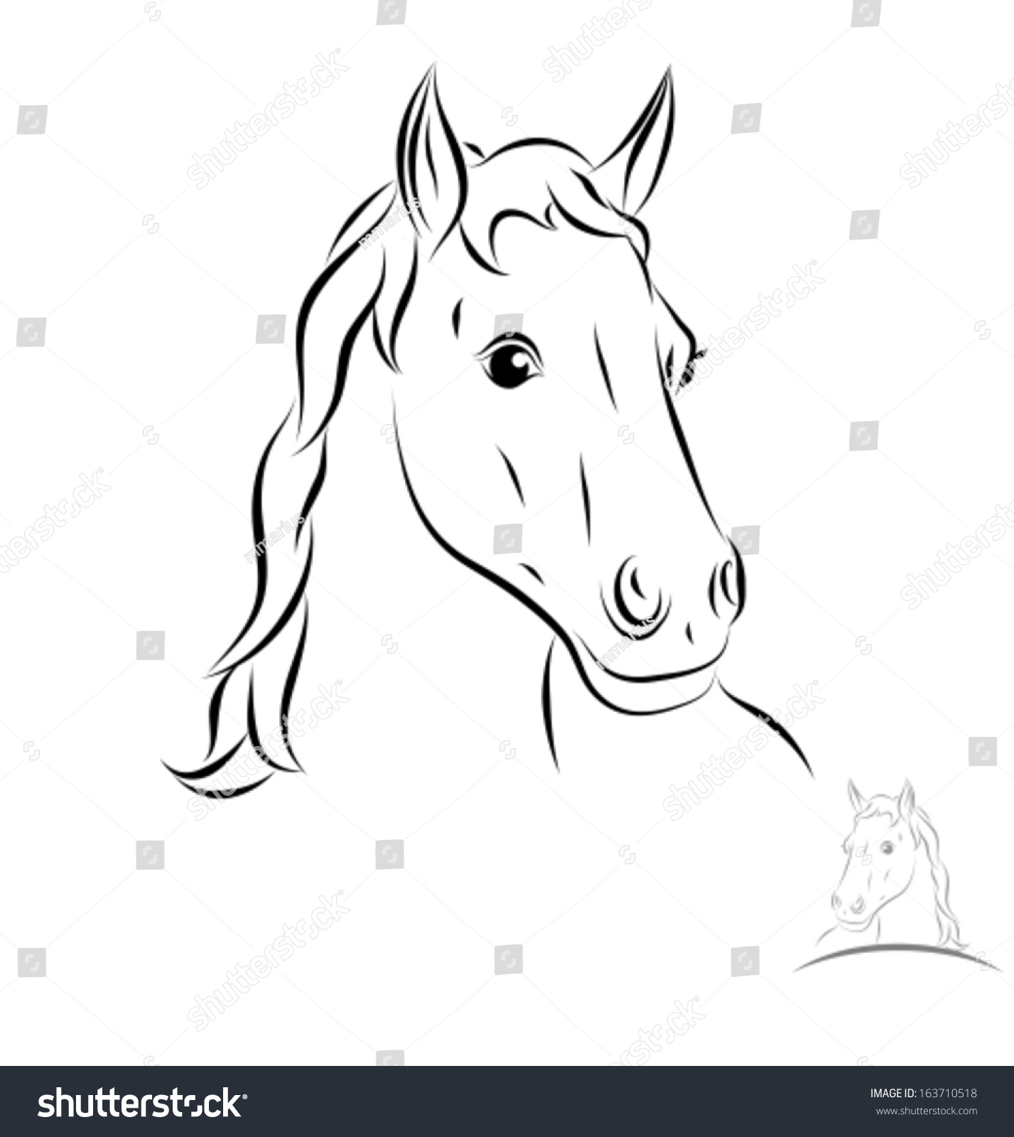 Stylized Horse Head Front View Black Stock Vector ...