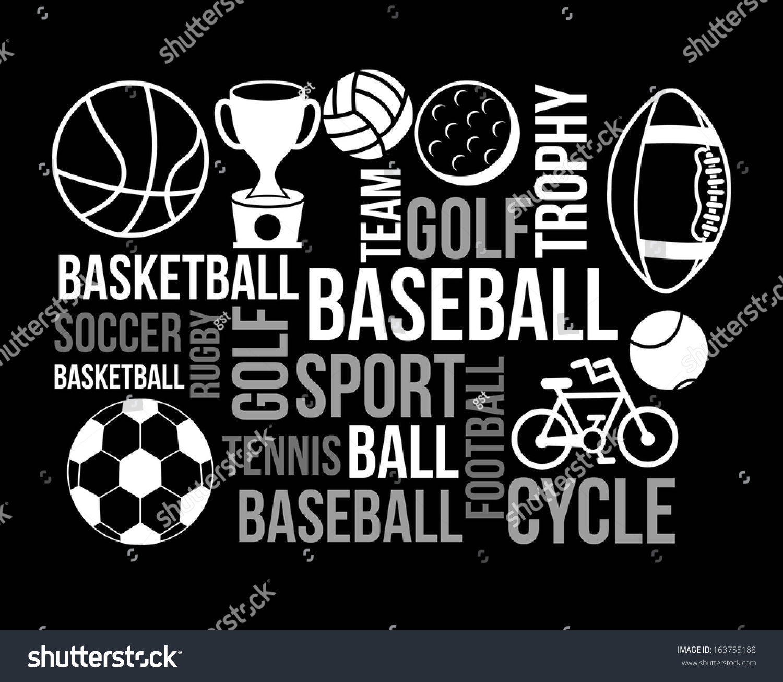 Sports Poster Over Black Background Vector Illustration - 163755188 ...