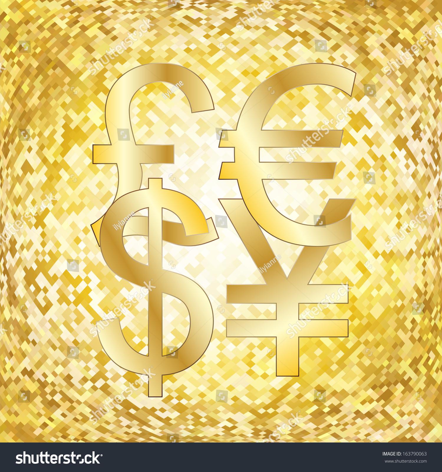 Shining Gold Background Dollar Euro British Stock Vector Royalty