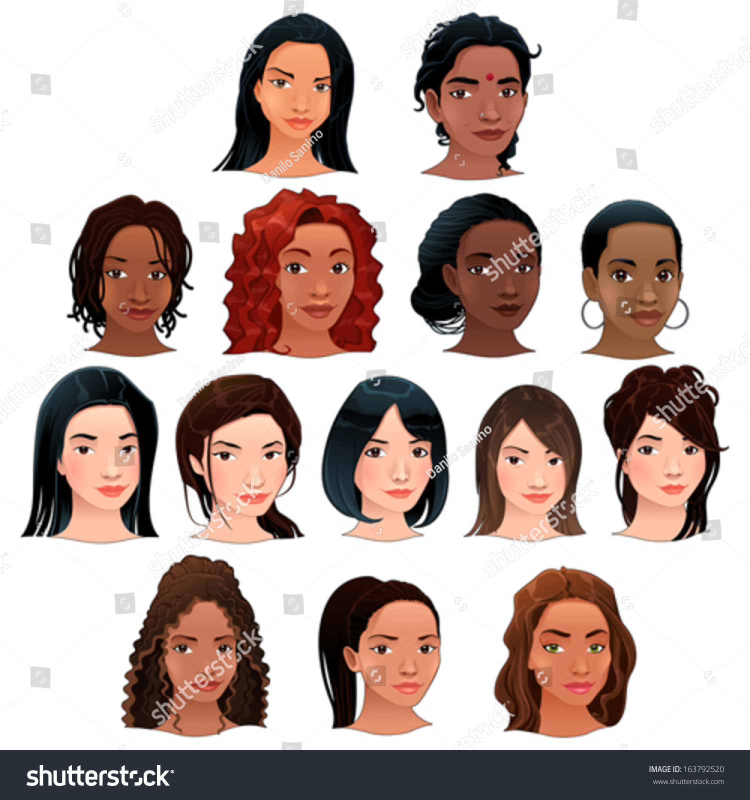 Crowd Of Indian Women Vector Avatars Stock Vector: Indian, Black, Asian And Latino Women. Vector Isolated