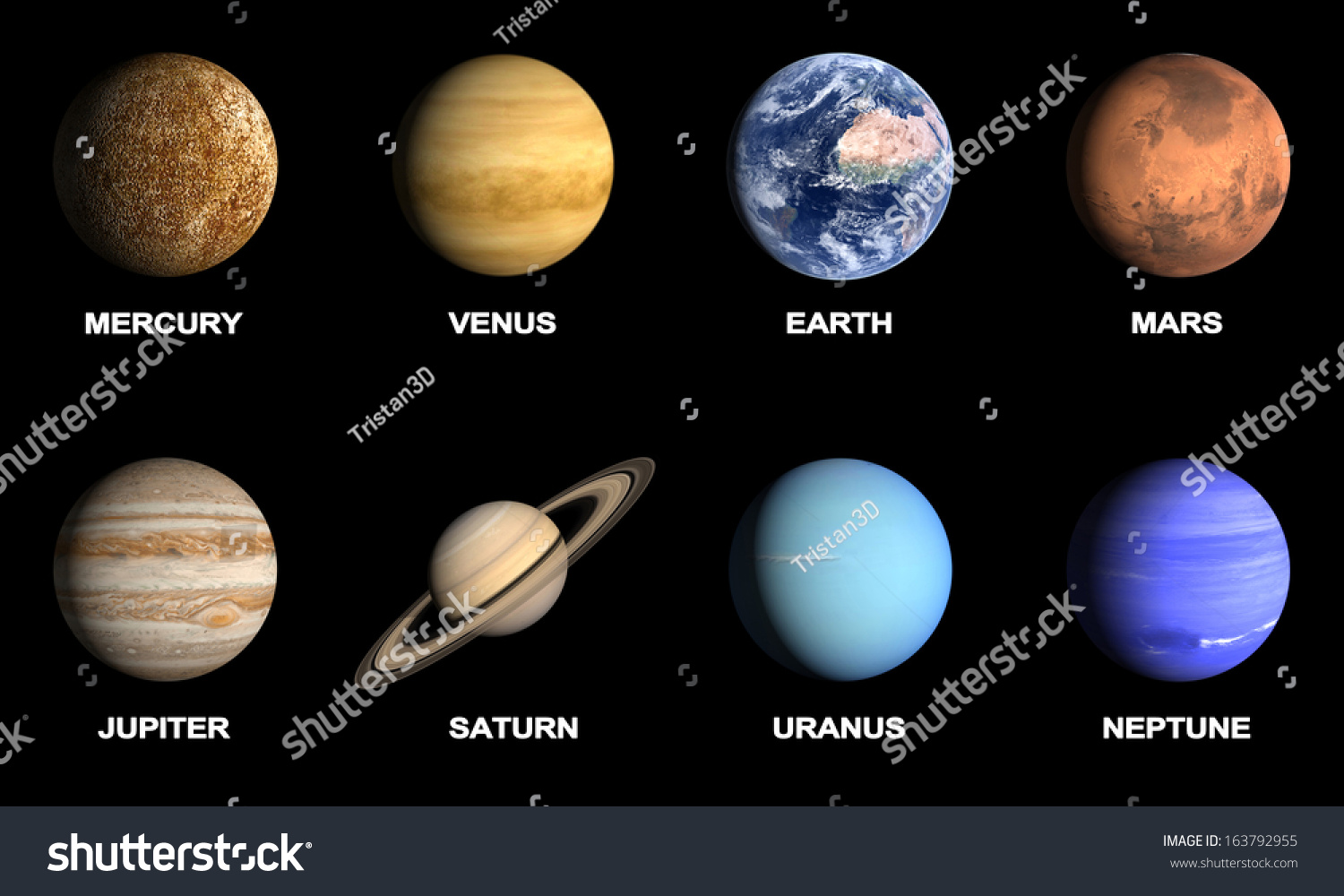 Rendered Comparison Image Planets Our Solar Stock ...