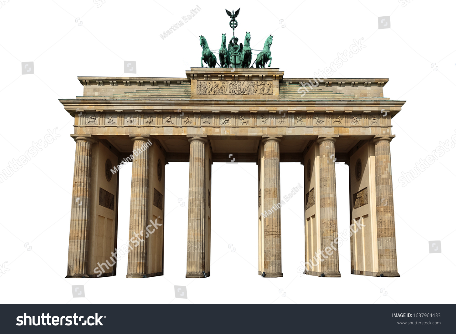 The Brandenburg Gate (German: Brandenburger Tor) isolated on white background. It is an 18th-century neoclassical monument in Berlin. #1637964433