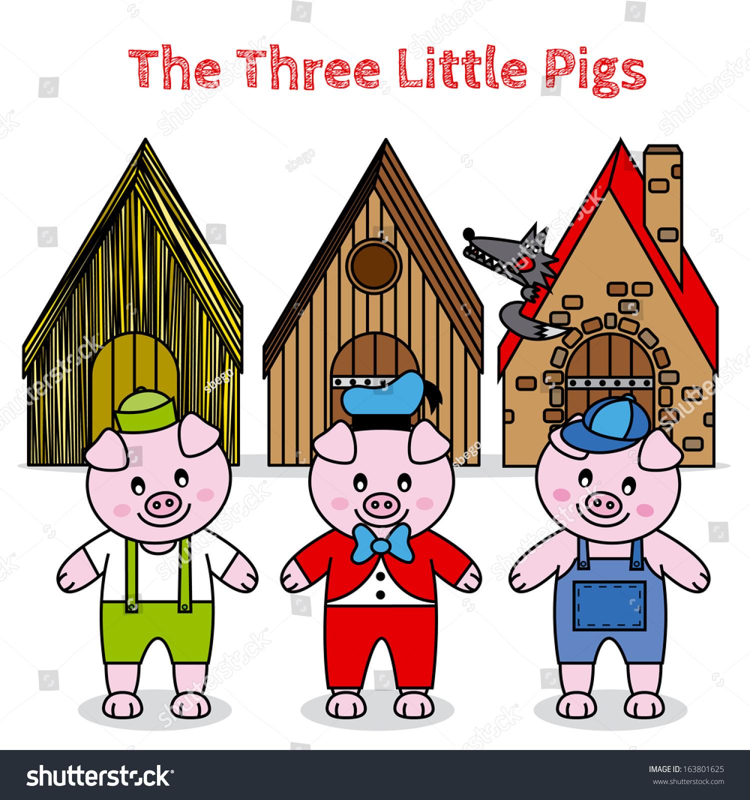 Three Little Pigs Fairytale Stock Vector 163801625 - Shutterstock