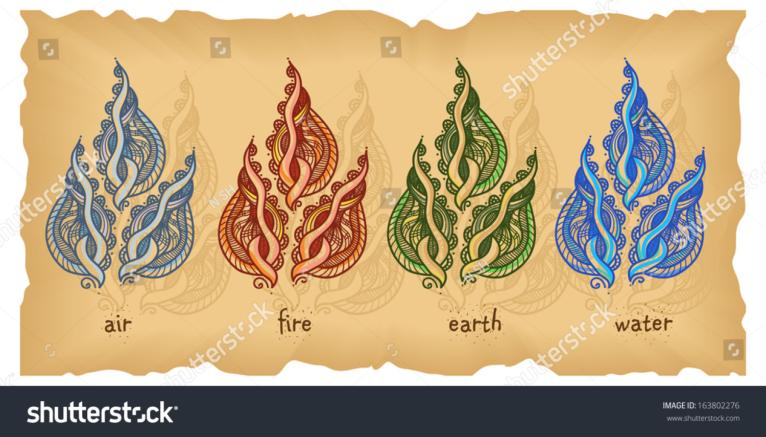 symbols four elements on old paper stock vector 163802276