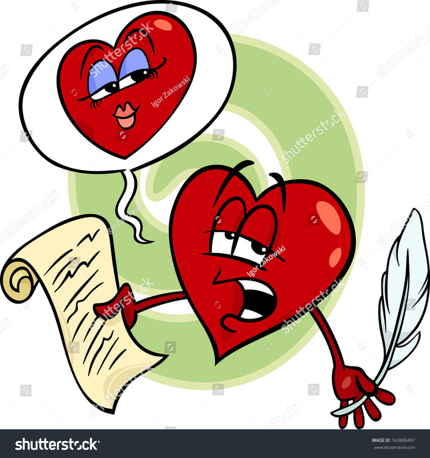 Cartoon Vector Illustration Heart Poet Character Stock Vector HD ...