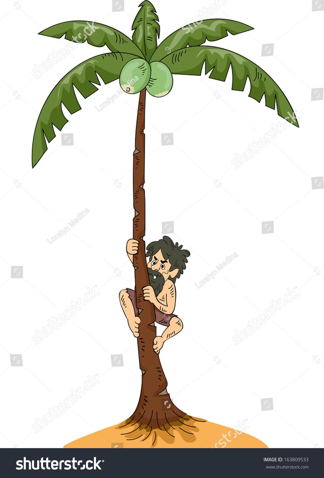 Illustration Man Stranded On Island Climbing Stock Vector Royalty