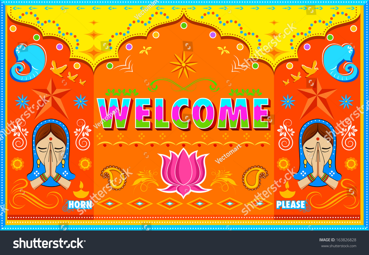 Illustration Welcome Background Indian Truck Paint Stock ...