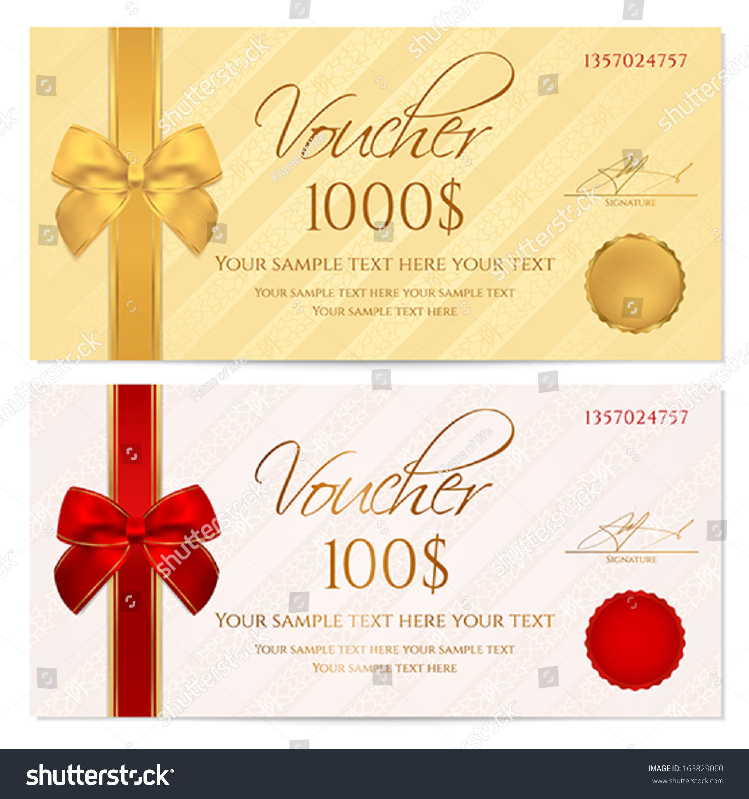 voucher gift certificate coupon template stripe stock vector voucher gift certificate coupon template stripe pattern red and gold bow