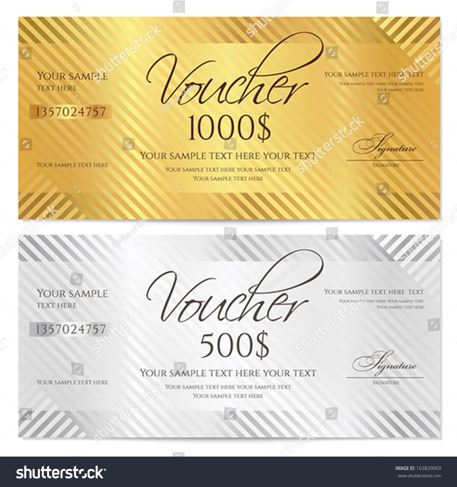 Royalty free voucher gift certificate coupon 163829069 stock voucher gift certificate coupon template with stripe pattern gold and silver background for money design currency note check cheque ticket reward yadclub Choice Image