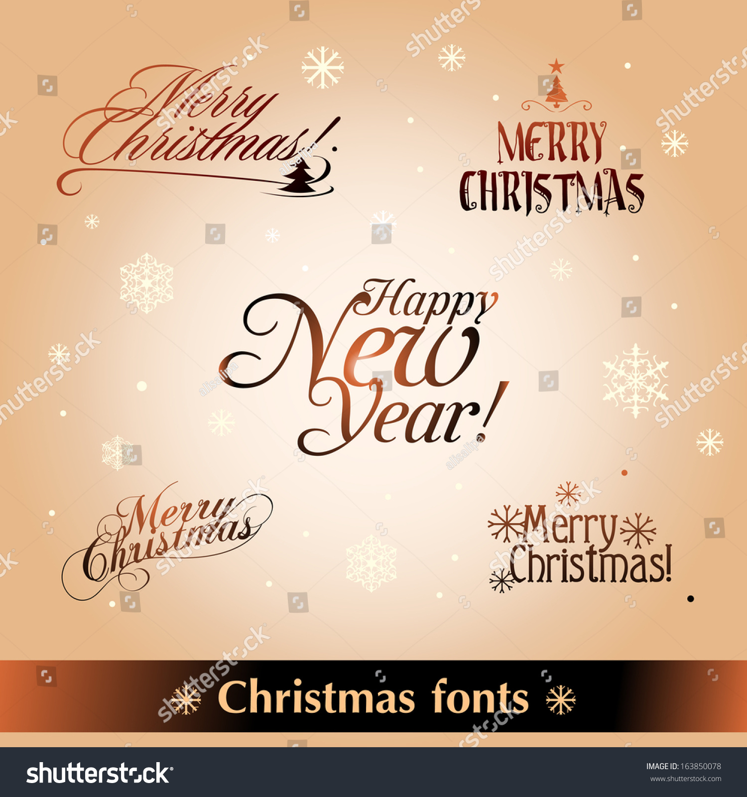 Christmas Fonts Stock Vector (Royalty Free) 163850078 - Shutterstock