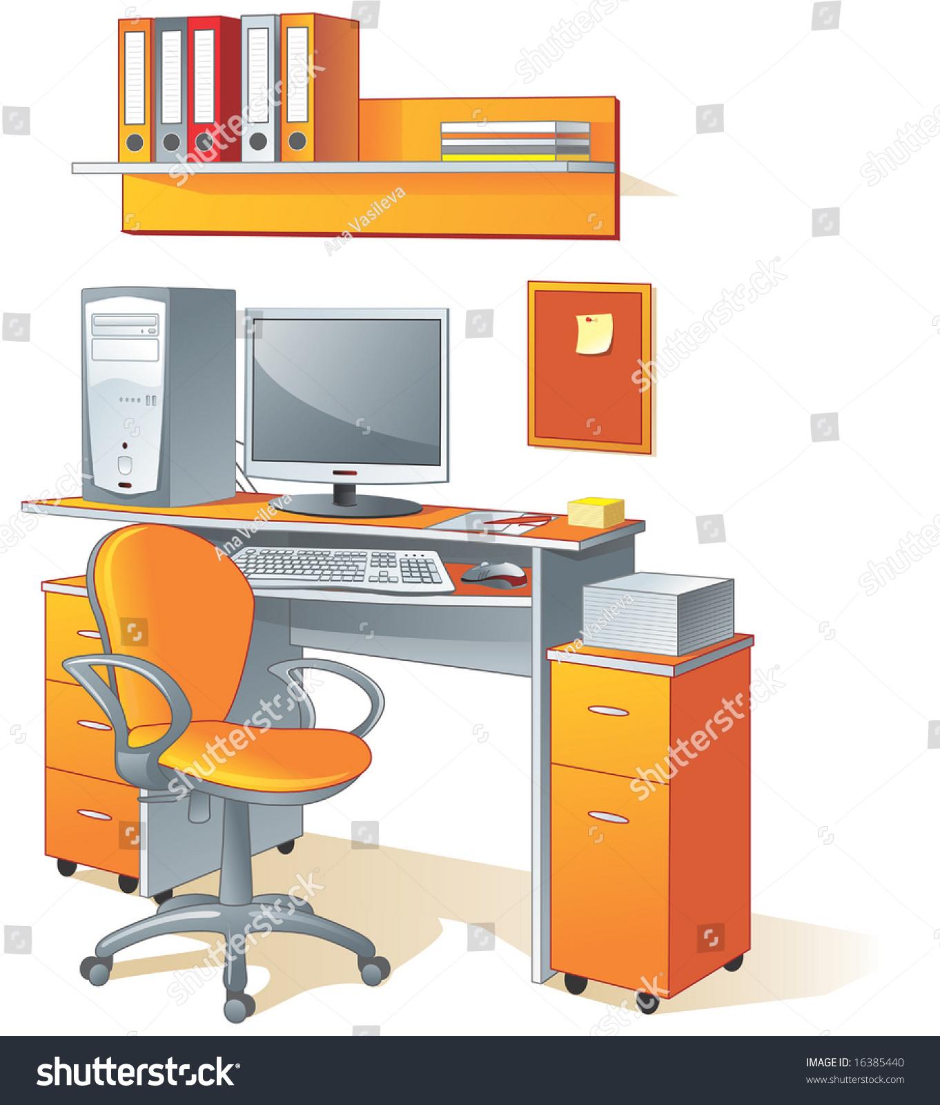 Desk computer chair files office furniture stock for Innenraumdesign studieren