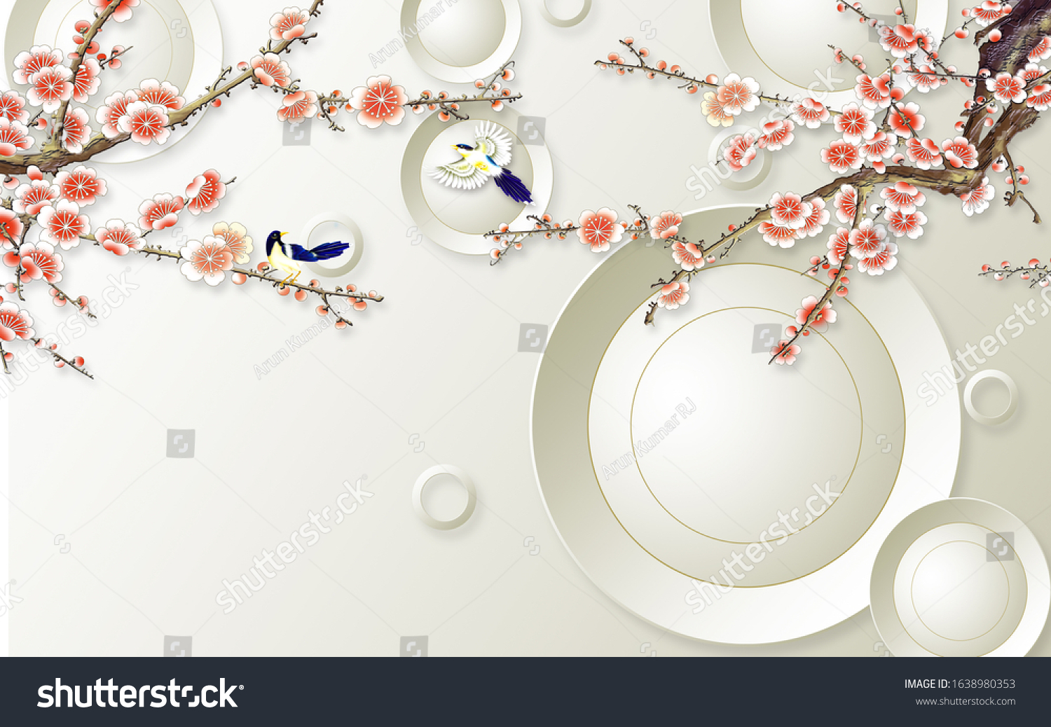 3D red Flowers and Flying Birds with white circle Wallpaper Mural