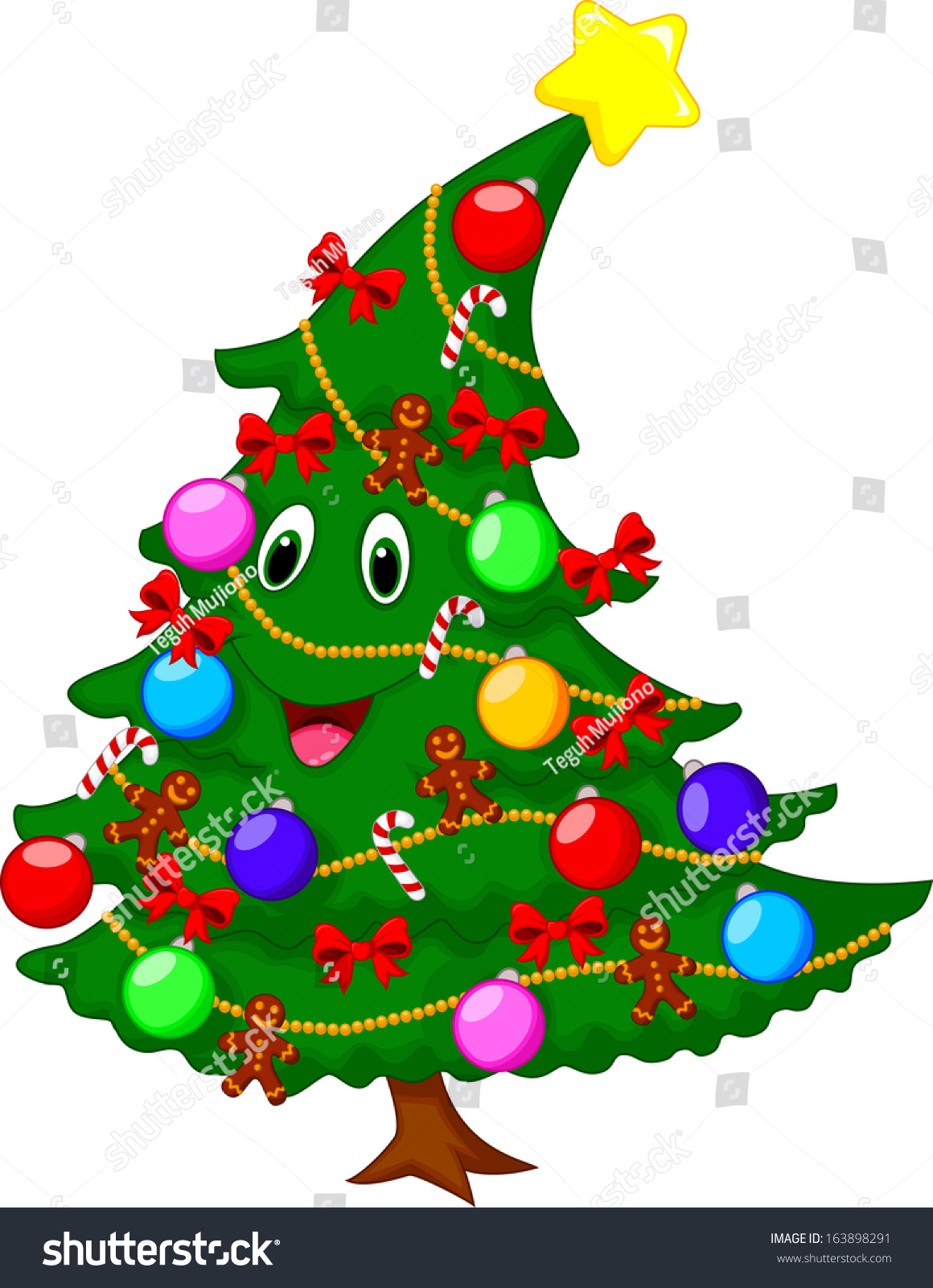 Christmas Tree Cartoon Character Stock Illustration 163898291 ...