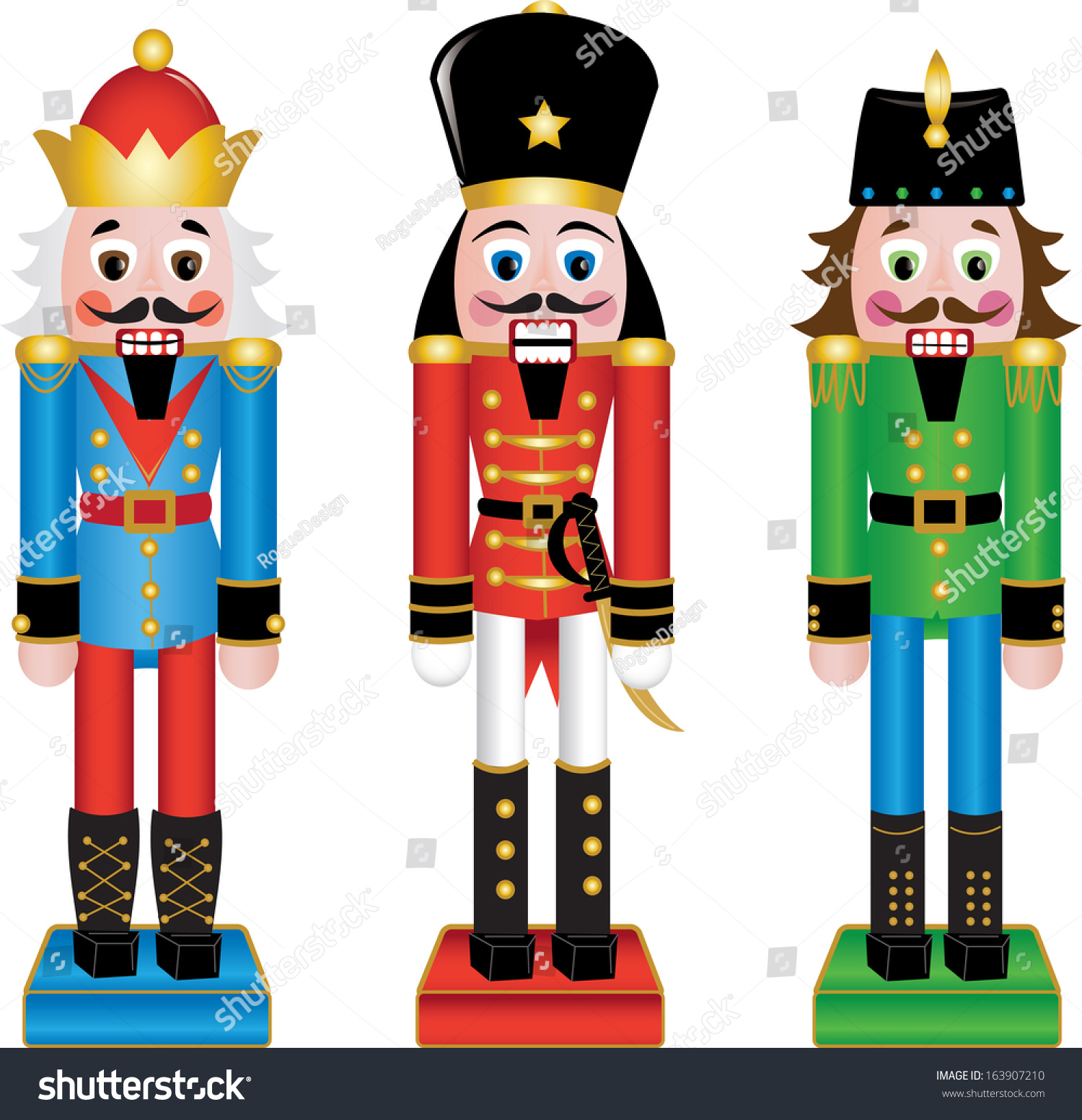 clip art illustration set wooden nutcracker stock illustration rh shutterstock com  nutcracker clipart free download