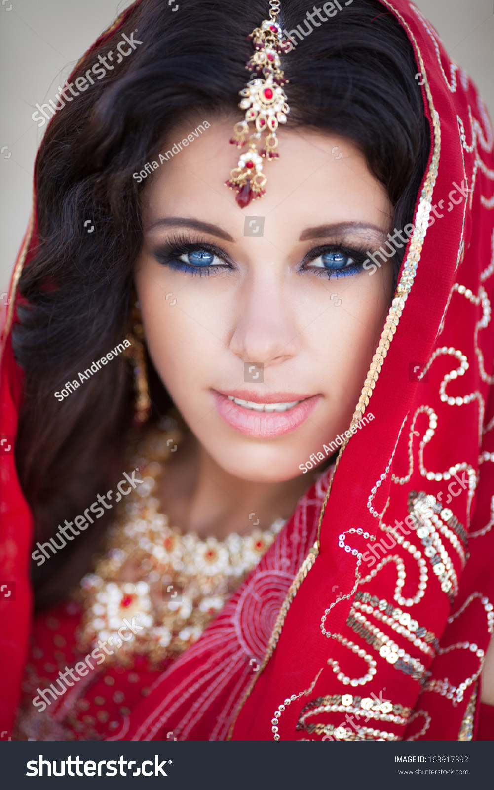 Beautiful Indian Woman Traditional Red Dress Stock Photo (100% Legal ...