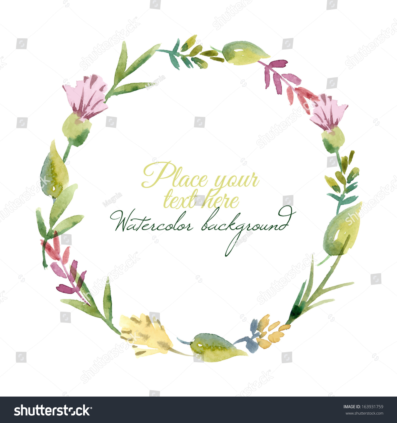Watercolor Floral Frame Vector Illustration Stock Vector ...