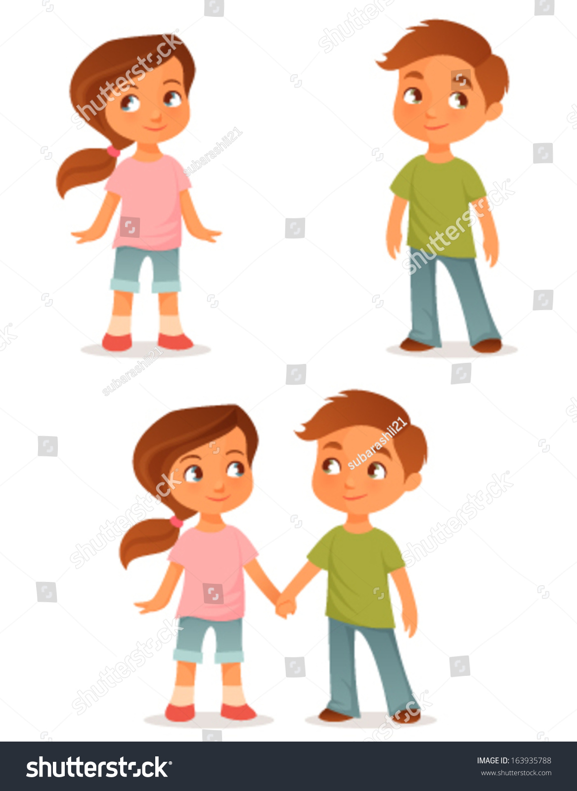 cute cartoon kids either a brother and sister or little friends holding hands