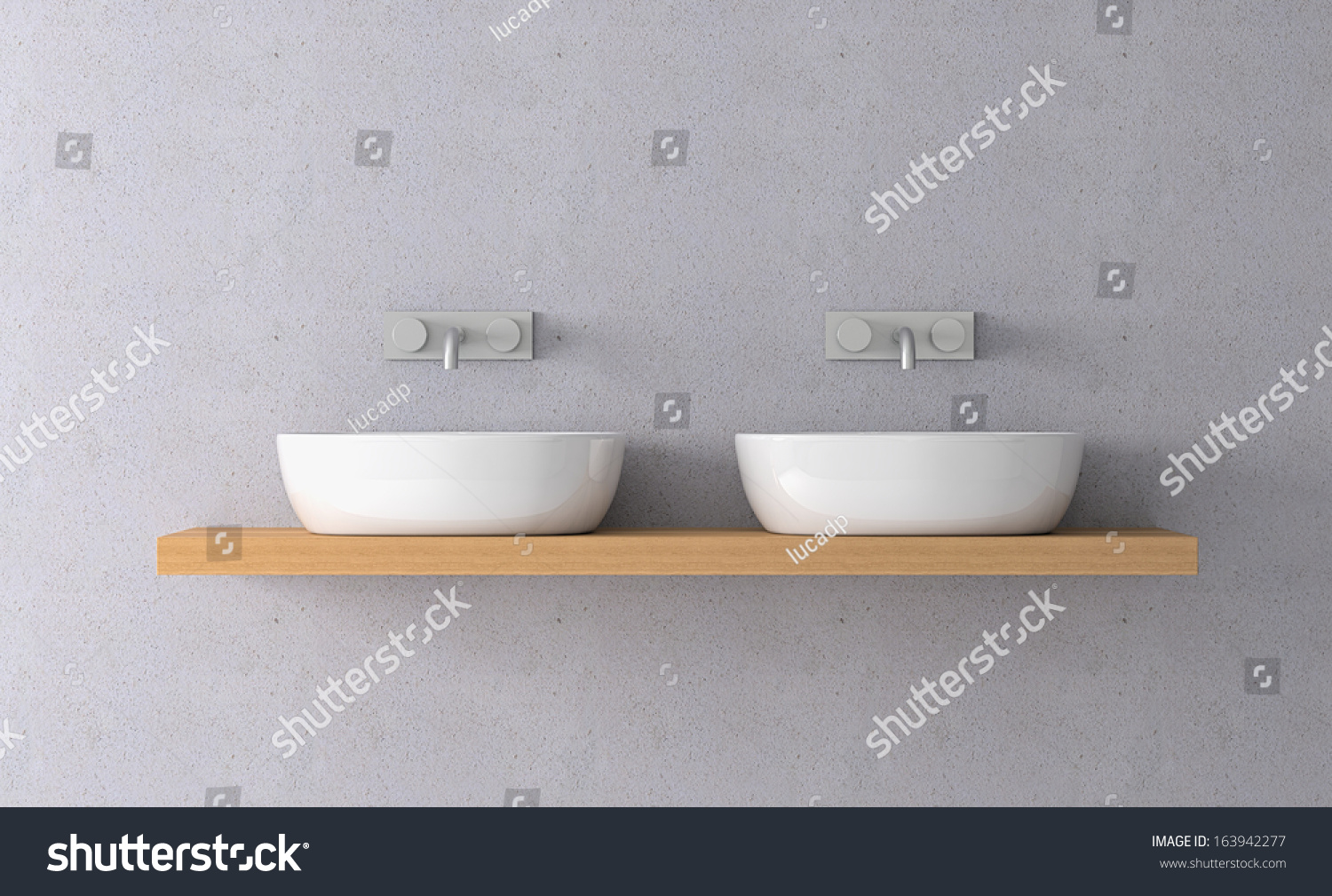 Front View Two Sinks On Shelf Stock Illustration 163942277 ...