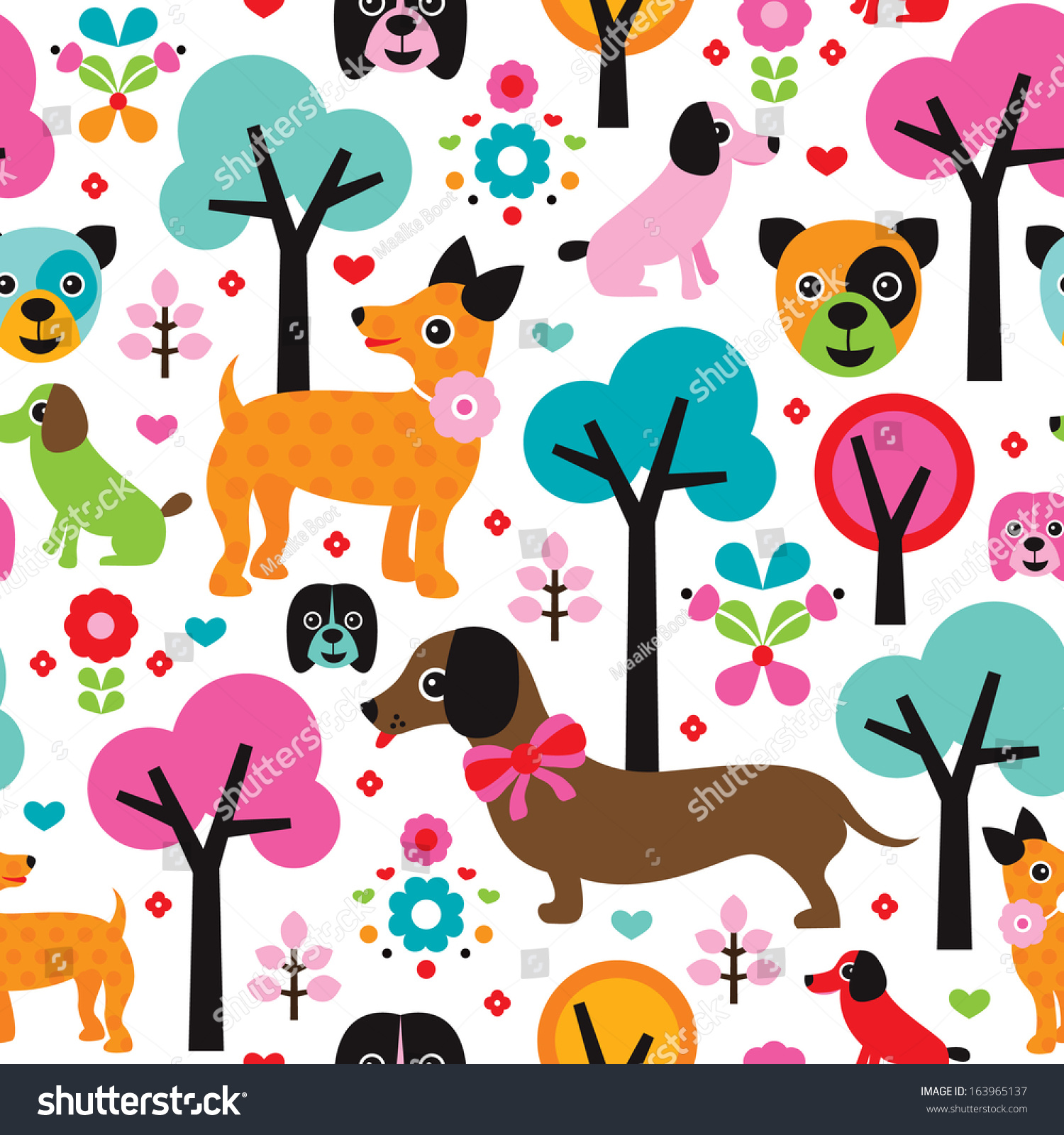 Seamless kids fabric dogs illustration cute pet background for Kids pattern fabric