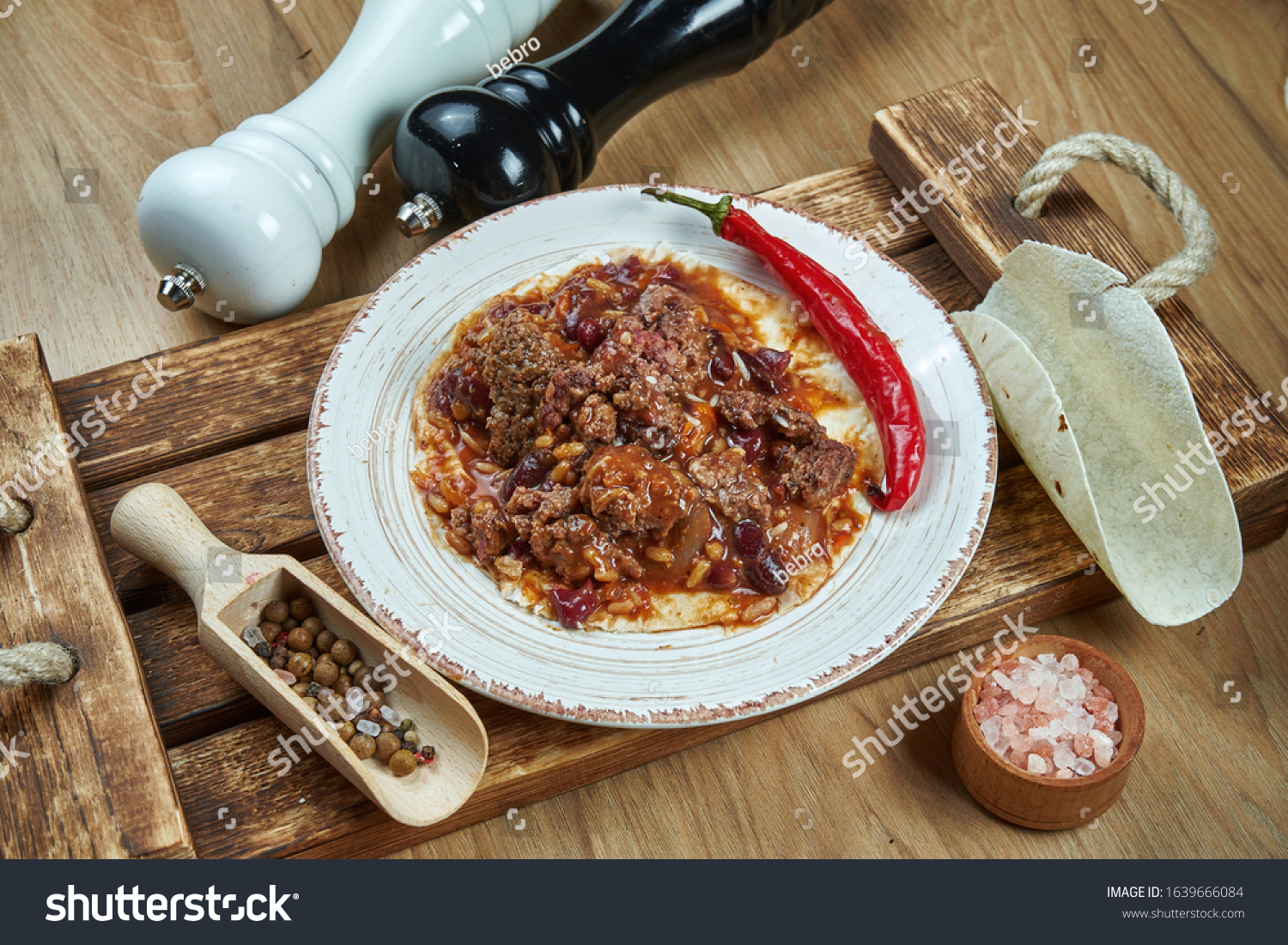 Traditional Mexican Tacos Beans Chili Peppers Stock Photo Edit Now 1639666084