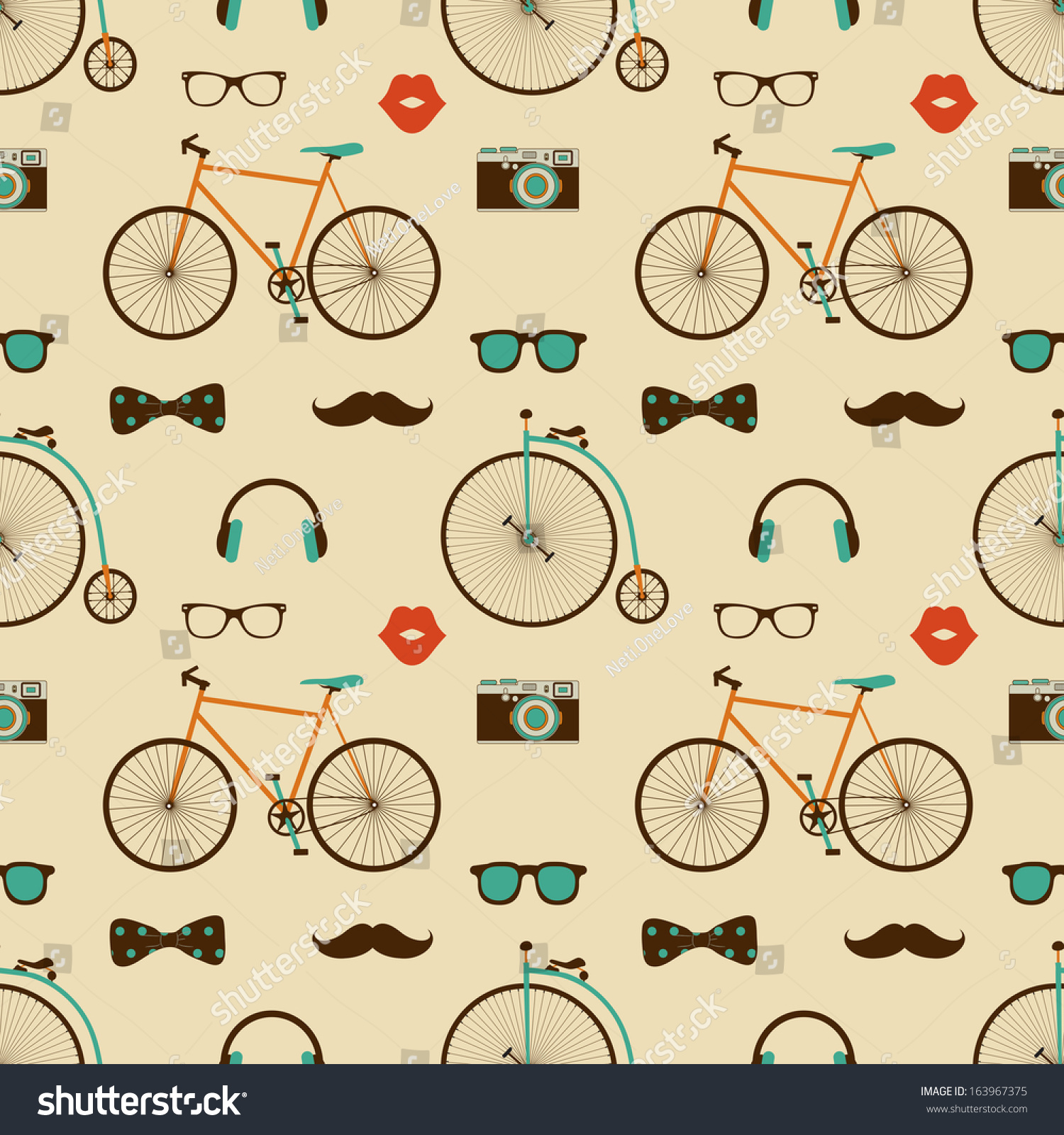 vector hipster doodles colorful seamless pattern stock
