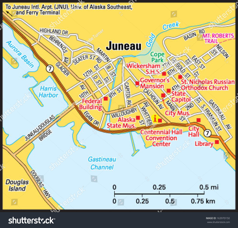 juneau alaska area map. juneau alaska area map stock vector   shutterstock
