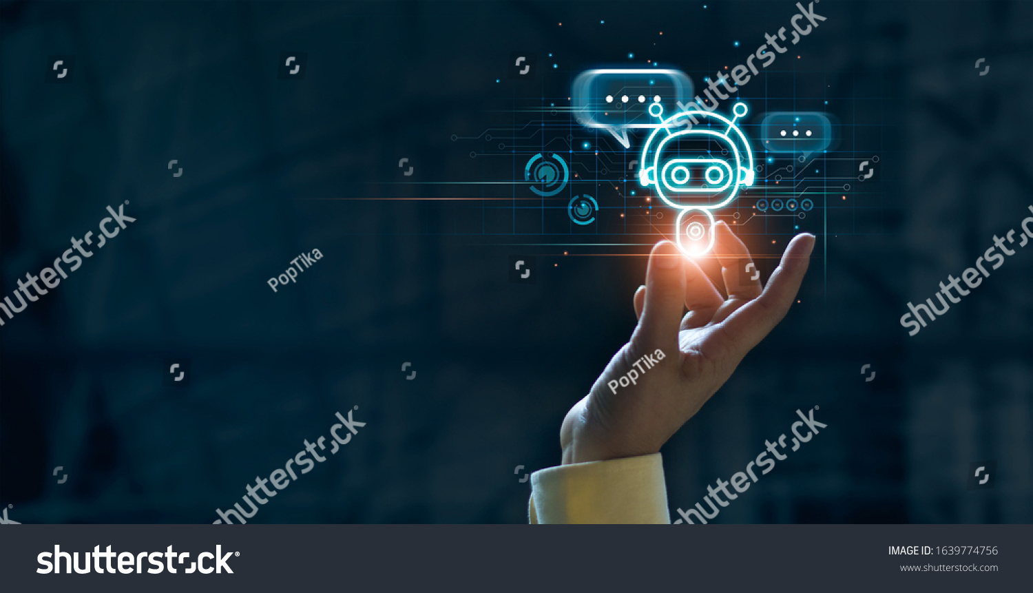 Hand touching digital chatbot for provide access to information and data in online network, robot application and global connection, AI, Artificial intelligence, innovation and technology. #1639774756