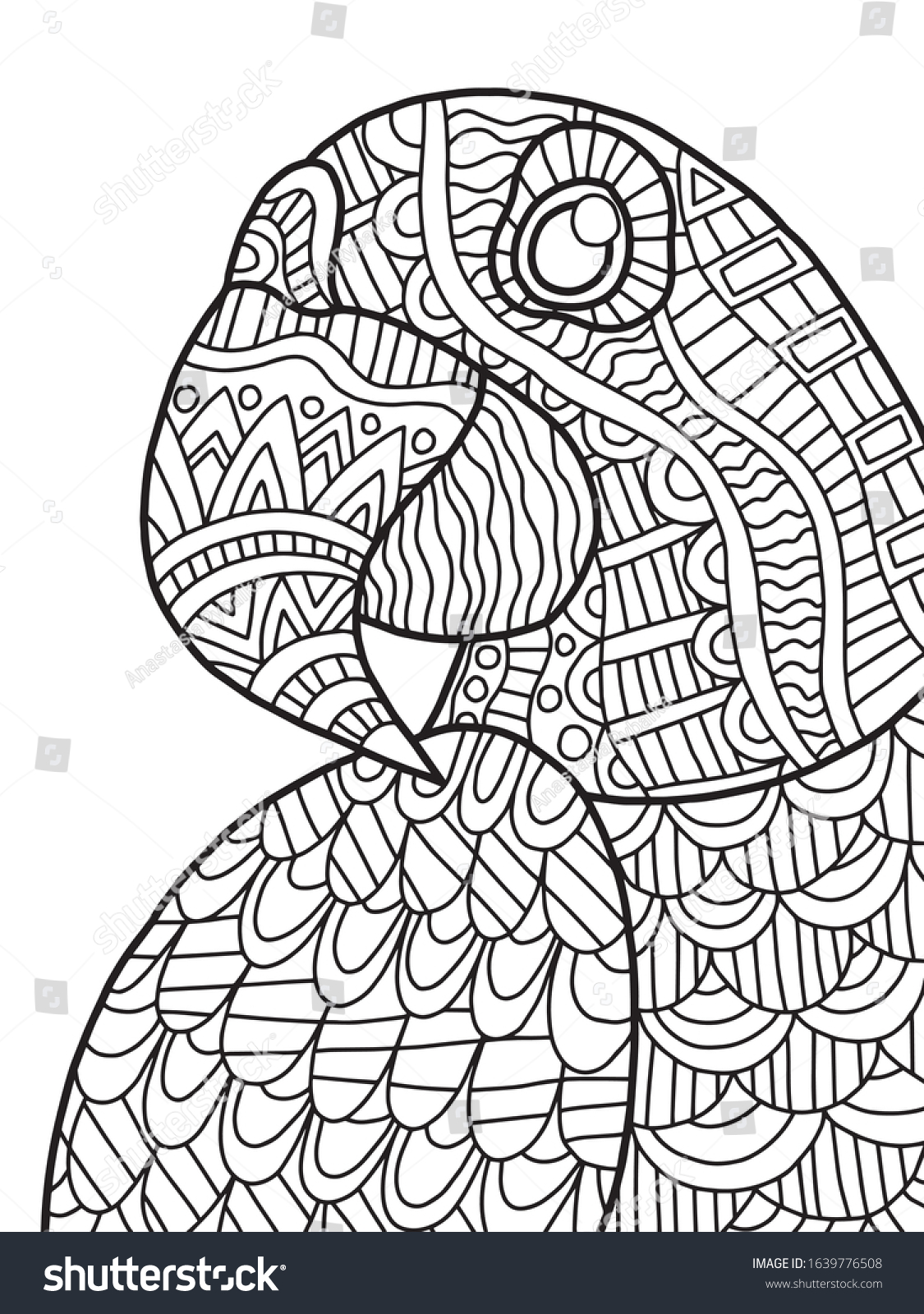 Blue Macaw Portrait Coloring Page Kids Stock Vector Royalty Free 1639776508