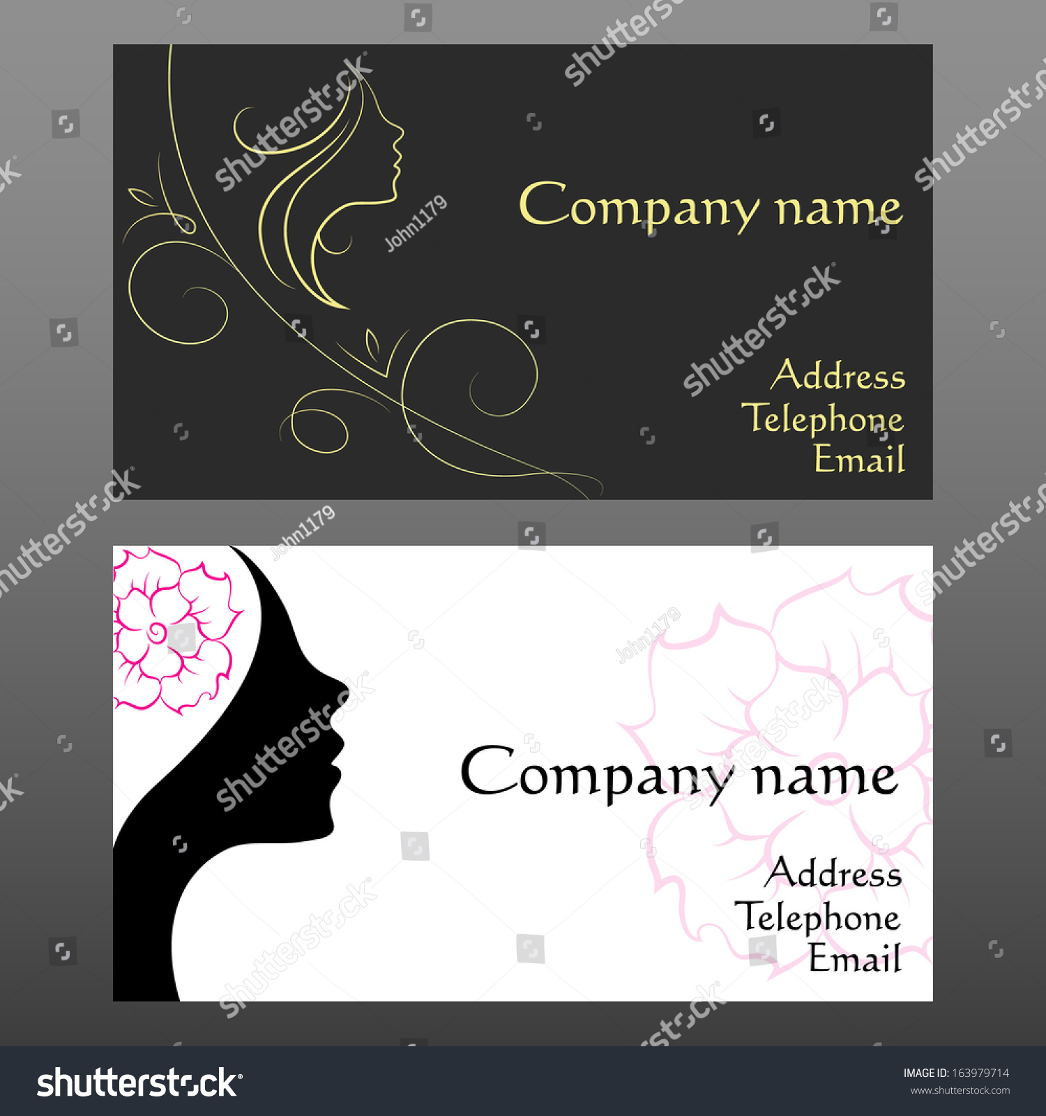 Business Card Hair Beauty Salon Stock Vector 163979714 - Shutterstock