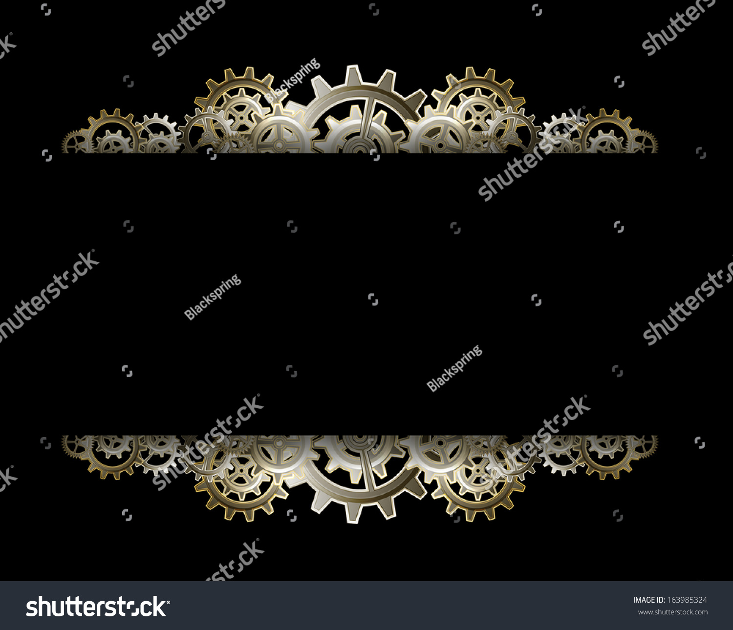 Steampunk Gears Frame Stock Vector Illustration 163985324 ...