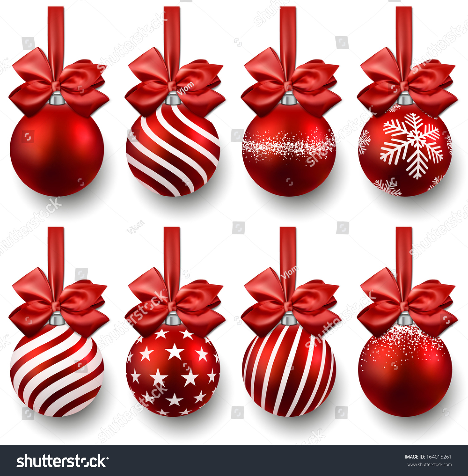 Red christmas balls on gift bows set of isolated