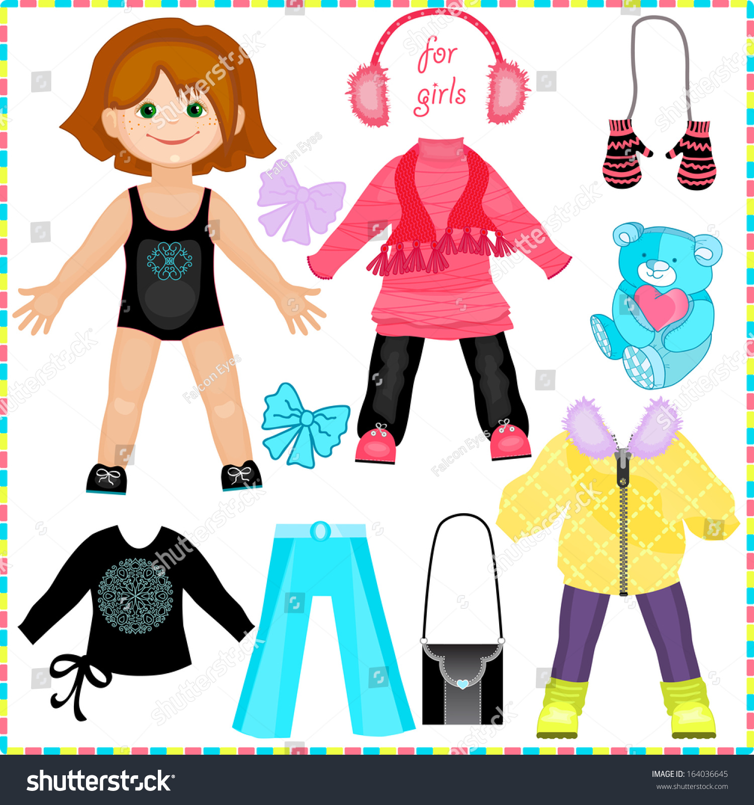 Paper Doll Set Clothes Cute Fashion Stock Vector 164036645 ...