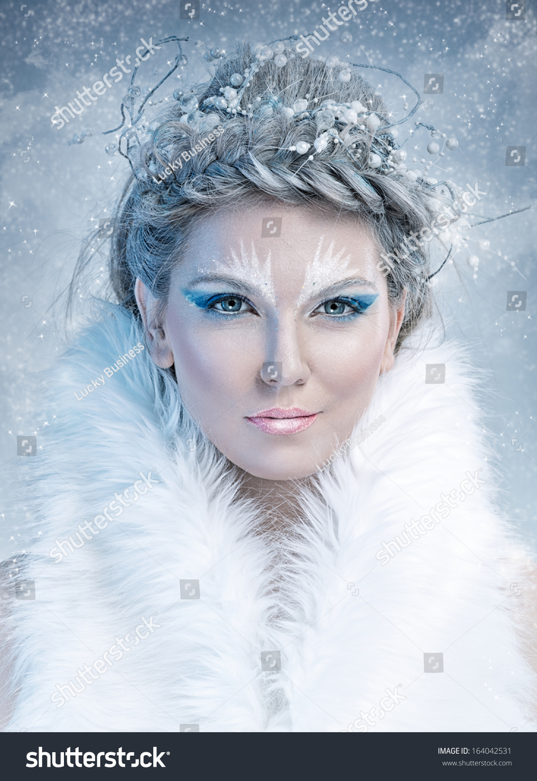 Ice Queen Beautiful Woman Winter Professional Stock Photo