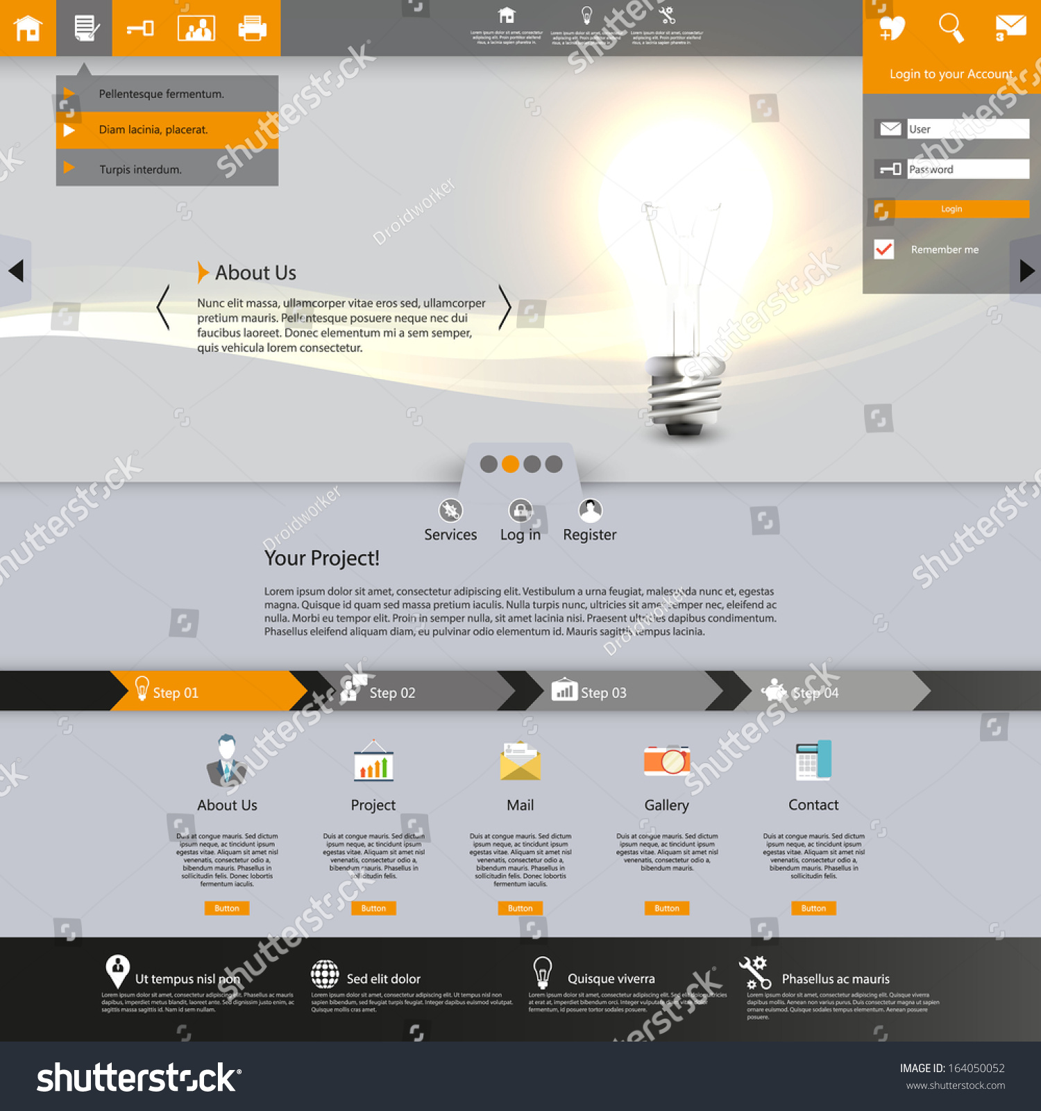 Website Template Lighting Bulb Illustration Stock Vector 164050052 ...