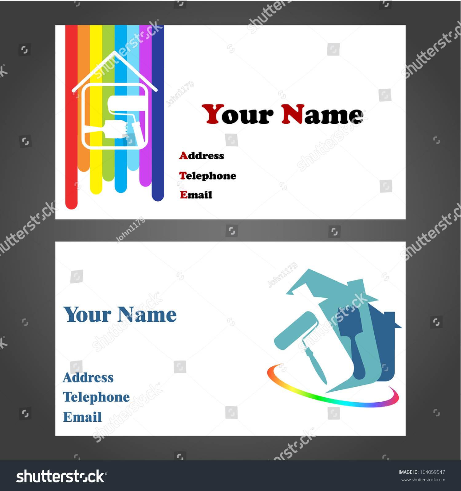Painter Decorator Sign Stock Vector: Business Card Designs For Painters And Decorators Stock
