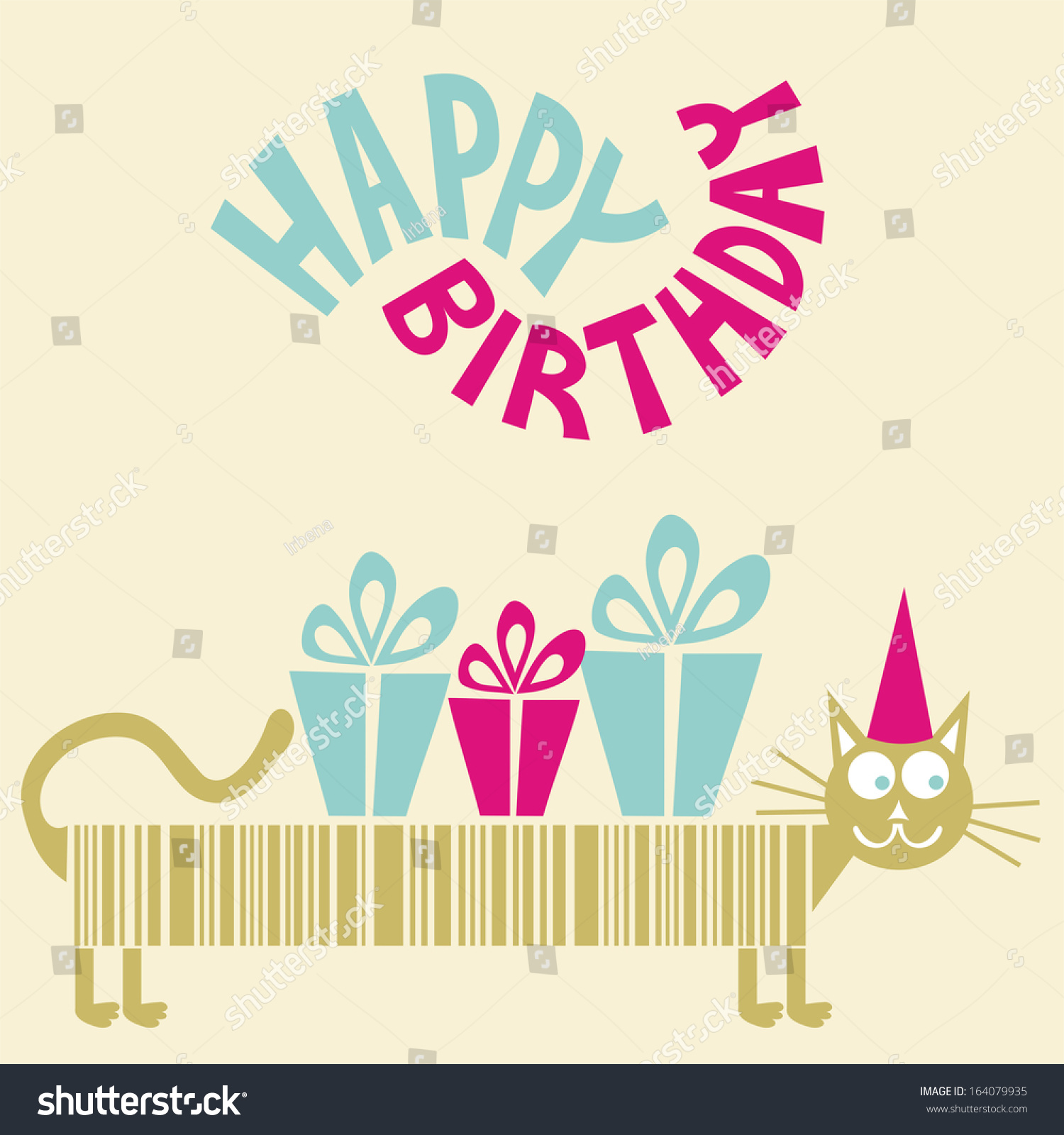 Royalty free stock illustration of happy birthday greeting card long happy birthday greeting card long cat illustration m4hsunfo