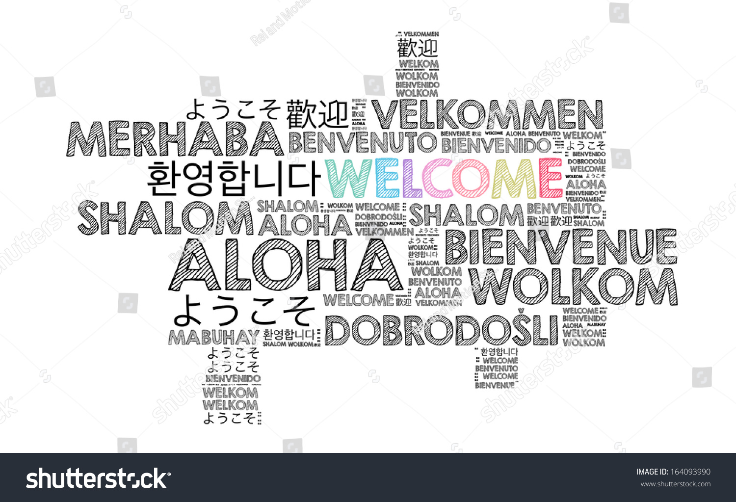 Welcome Different Languages Stock Illustration 164093990